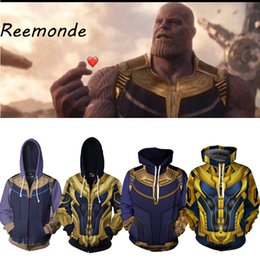 Cool Sweatshirt Jackets Australia - The Endgame Thanos Cosplay Costumes Hoodies Sweatshirts Clothes Men Male 3D Print Fashion Cool Jacket Zipper Coat 5XL