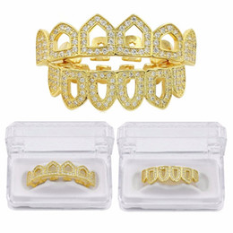 Dental golD alloys online shopping - Iced out Grillz Micro Pave CZ Pure Gold Color Plated Top Bottom Six Open Face Iced Out Hip Hop Grills Hollow Teeth Set