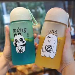 classic plastics Australia - 520ml Lovely Cartoon Cute Panda Plastic Water Cup Silicone Rope Girl Portable Handy Water Cup Student Gift Bottles