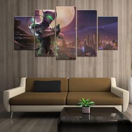 $enCountryForm.capitalKeyWord Australia - Home Decor Poster HD Pictures Prints Canvas 5 Piece Modular Moon Genji Game Living Room Decorative Painting Framed
