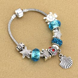 $enCountryForm.capitalKeyWord Australia - Charm beads fit Pandora jewelry 925 silver bracelet shell pendant bracelet blue sky starfish turtle charm Diy jewelry