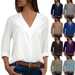 vestiti delle donne magliette del progettista delle donne Camicetta allentata di grandi dimensioni della camicetta del V-collo delle donne solide magliette delle magliette che cadono trasporto in Offerta