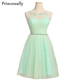 $enCountryForm.capitalKeyWord Australia - Mint Green Bridesmaid Dress Short Tulle Short Sheer Shoulder Beading Burgundy Bridesmaid Party Dresses Elegant vestido de