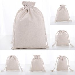 candy door gift UK - Linen Drawstring Pouch Bags Reusable Shopping Bag Party Candy Favor Sack Cotton Gift Packaging Storage Bags Free shipping WX9-1488