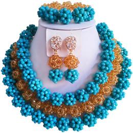 $enCountryForm.capitalKeyWord Australia - Hot Sale Opaque Lake Blue Champagne Gold African Wedding Beads Crystal Jewelry Set 3C-SJTQ-06