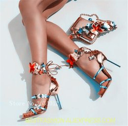 $enCountryForm.capitalKeyWord Australia - Colorful Butterfly Appliques Metallic Leather Turquoise Strappy High Heel Pump Shoes Chic Back Lace Up Summer Woman Sandals