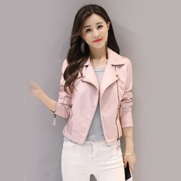 $enCountryForm.capitalKeyWord NZ - Sexy Cool Women Coat Ladies Tops Party PU Leather Outdoor Solid Color Slim Streetwear Club Party Zipper Lapel Collar Jacket