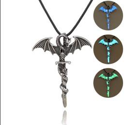 Vintage Necklaces Unisex Australia - Vintage Silver Luxury Glow In The Dark Choker Necklaces Glowing Pterosaur Thrones Wing Sword pendant For Unisex Men women Ladies luminous