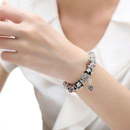 TibeTan snake charms online shopping - 2018 BAMOER High Quality European Tibetan Silver Beads Bracelets Bangles with Heart Charm Bracelet DIY Jewelry PA1034