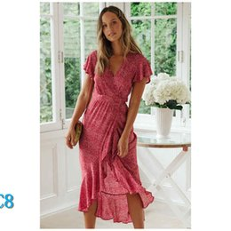 Wholesale american dress sizes resale online – Brand women summer dress Summer hot new European and American small floral v neck short sleeve lacing dress size available S to XLC8