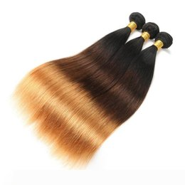 raw hair dye colors NZ - Indian Virgin Hair Raw Straight Ombre Three Tones 1B 4 30 Human Hair Extensions 1B 4 30 Double Wefts