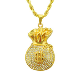 Chinese  Dollar Purse Pendant Necklace Hip-hop Pendant Necklace Set With Diamonds Pendant Necklace Iced Out For Men Women Jewelry manufacturers