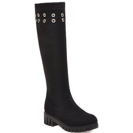 shoes for plus sized women Australia - Hot Sale-2019-2020 Autumn Winter New Knee High Boots Women Plus Size 34-43 Riding Equestrian Med 4cm Square Heel Shoes for Yellow Black