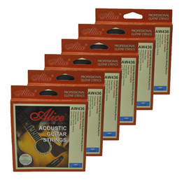 coated guitar strings 2019 - 6Sets Alice Acoustic Guitar Strings Hexagonal Core Phosphor Bronze Wound Anti-Rust Coating AW436L