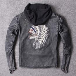 $enCountryForm.capitalKeyWord Australia - 2019 Men Vintage Gray Motorcycle Genuine Leather Jacket 3D Indian Embroidery Thick Cowhide Slim Fit Biker Leatehr Jackets
