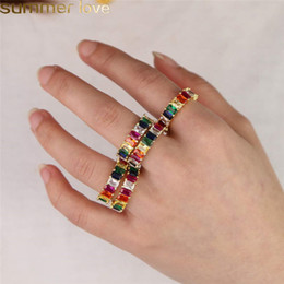 $enCountryForm.capitalKeyWord NZ - Gold Filled Rainbow Rings Fashion Jewelry Rainbow Square Baguette CZ Engagement Ring for Women Colorful Cubic Zirconia Cz Eternity Band Ring