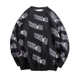 $enCountryForm.capitalKeyWord UK - Knitted Harajuku Thunder Letter Pattern Sweater for Men Urban Boys Loose Hip Hop Street Wear Knit Pullover Jumper Plus Size M-XL