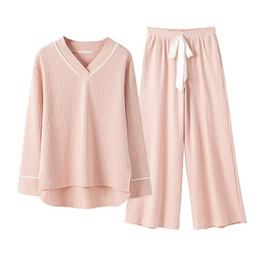 $enCountryForm.capitalKeyWord Australia - New Spring Cotton Knitting Wide Leggings Suit Womens Pyjamas Pajamas Sleepwear Female Pijama Home Suit Clothes Pregnant Women T8190621