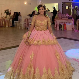 light pink gold quinceanera dresses Australia - Gold Appliques Ball Gown Quinceanera Dresses Scoop Long Sleeve Pink Princess Girls Sweet 16 Birthday Party Gowns