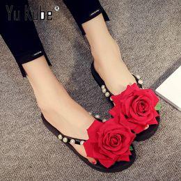 $enCountryForm.capitalKeyWord Australia - Yu Kube Brand 2018 New Women Slippers Summer Casual Beach Slip On Flip Flops Rose Flower decoration Slide Pearl Woman Shoes