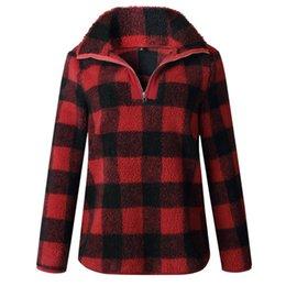 d4548713a19e Zipper Hoodies Short Sleeve UK - Pop2019 Arrival Turtleneck Plaid Hoodies  Zipper Long Sleeve Loose Tops