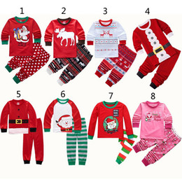 Discount 3t santa suit - 8 Style Boys Girls Christmas Pajamas 2018 New Children Cartoon Santa Claus elk long sleeve tops + Pants 2pcs sets Suits