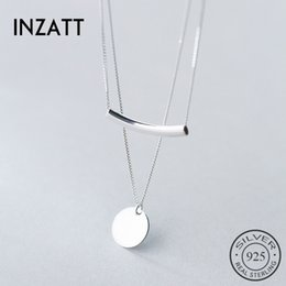 Sterling Silver Chains Women Australia - Inzatt Real 925 Sterling Silver Double Chain Geometric Round Bent Pipe Choker Pendant Necklace For Women Party Fashion Jewelry Y19050901