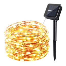 Discount copper outdoor decor 72ft 22M 200 LED Solar Strip Light Home Garden Copper Wire Light String Fairy Outdoor Solar Powered Christmas Party Deco