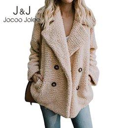 $enCountryForm.capitalKeyWord Australia - Jocoo Jolee Women Casual Teddy Coat Female Autumn Winter Warm Faux Fur Coat Soft Fluffy Fleece Jackets Outwear Plus Size 5XL
