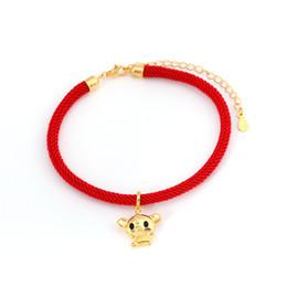 Sterling Silver Red Rope Bracelet NZ - S925 sterling silver red rope zodiac pig bracelet 2019 new Korean Dongdaemun womens birthday bracelet