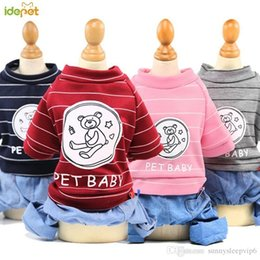 jeans for small dogs Australia - Four Legs Jeans Dog Clothing Stripe Jumpsuit Puppy Clothes Winter Jumpsuit For Small Dogs chihuahua Fashion Pet overalls 40D