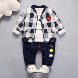 Branded Baby Kids Clothes Australia - Baby Boys And Girls Suit Brand Tracksuits Kids Clothing Set Hot Sell Fashion Spring Autumn Long Cartoon three piece Zipper suit clothes