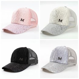 $enCountryForm.capitalKeyWord Australia - M Letter Cap Summer Mesh Baseball Caps Girl Wrinkle Snapbacks Fashion Hip Hop Cap Hat Couples Flat Cap Party Hats