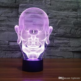 portrait 3d UK - 7 Color Changing LED Nightlight 3D One Eyed Giant Table Lamp Head Portrait USB Lampara Bedroom Baby Sleep Lighting For Kids Gift