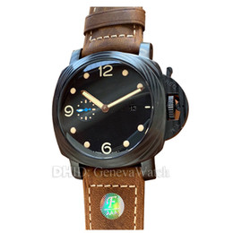 $enCountryForm.capitalKeyWord Australia - luxury mens watches 00661 montre de luxe Black PVD 47mm Case Mechanical Automatic Movement Cowhide Leather Band men watch waterproof watches