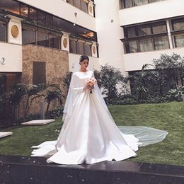 White Wedding Dress Black Veil Australia - 2019 Simple Graceful White Satin Muslim Wedding Dresses O Neck Full Sleeve Ruched Country Wedding Gowns Church Bridal Gowns With Veil