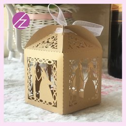 fancy boxes wholesale 2019 - 50pcs lot Wedding Boxes Candy Chocolate Boxes With Bride And Groom Marriage Fancy Dress Ceremony Party Supplies Exquisit