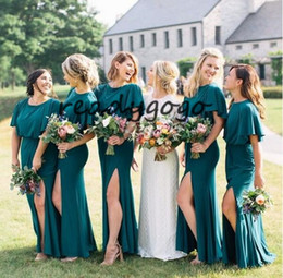 pastel yellow long sleeve dress NZ - Hunter Teal Blue Long Bridesmaid Dresses with Sleeves 2019 Modern Jewel Neck Plus Size Outdoor Bohemian Country Wedding Party Dress