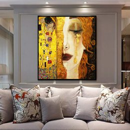Golden Paintings Australia - Handpainted & HD Print Gustav Klimt Golden Tears And Kiss Abstract Art Oil Painting On Canvas Wall Art Home Decoration High Quality g153