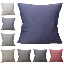 wholesale plain cotton cushions NZ - CURCYA Comfortable Solid Colors Cushion Cover Healthy Washed Cotton Pillow Case Modern Home Decorative Sofa Throw Pillow Covers