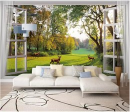 $enCountryForm.capitalKeyWord Australia - Custom large-scale mural 3d photo wallpaper Out of the window scenery woods small river side deer pigeons dream TV sofa background wall
