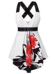 $enCountryForm.capitalKeyWord UK - Wipalo Plus Size Sleeveless V Neck Lace Insert Tank Top Fashion Women Tops Criss Cross Floral Empire Waist Summer Tank Tops 5xl Y19050502