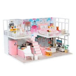 silicone toys Australia - New 3D Doll Houses Diy Wooden Toy Furniture Miniaturas Dolls House Miniature Dollhouse Toys for girlfriend Gift Beautiful diary