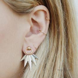 $enCountryForm.capitalKeyWord Canada - 5 Pcs set Women Fashion Leaves Feather Geometric Earrings Simple Round Gold Ear Buckle Lady Party Wedding Jewelry Gift
