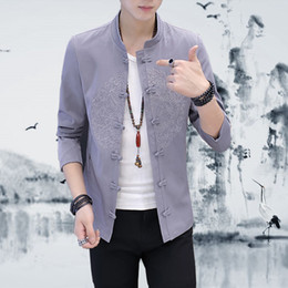 Discount chinese embroidered jackets - Chinese Retro Style Men Long-sleeved Jacket Size S-4XL Fashion Casual Men's Embroidered Coat Comfortable and Elegan