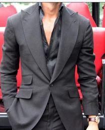$enCountryForm.capitalKeyWord NZ - 2019 Dark Grey Mens Suits Tailored Big Lapel Business Men Office Suit Best terno masculino Wedding Party Tuxedo