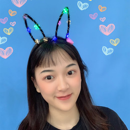 novelties rabbit toy UK - Novelty Flash LED Hair Bands Bow Light Up Toys Dress Up Toy Flashing Rabbit Ears Headband For Halloween Party Supplies