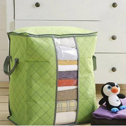 Big Storage Boxes Australia - Small Bamboo Charcoal Storage Bags Big Non Woven Portable Foldable Clothing Blanket Pillow Underbed Bedding Organizer Box