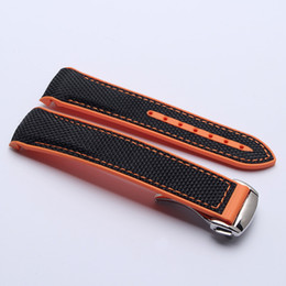 $enCountryForm.capitalKeyWord UK - 22mm Men Women Orange Waterproof Diving Silicone Rubber Suture Black Watch Band Strap with Stainless Steel Buckle for Omega Planet-Ocean