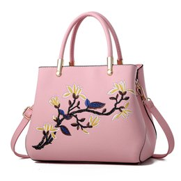 simple hand embroidery UK - Fashion Women Handbags PU Leather Totes Bag Top-handle Embroidery Crossbody Bag Shoulder Bag Lady Simple Style Hand Bags Pink